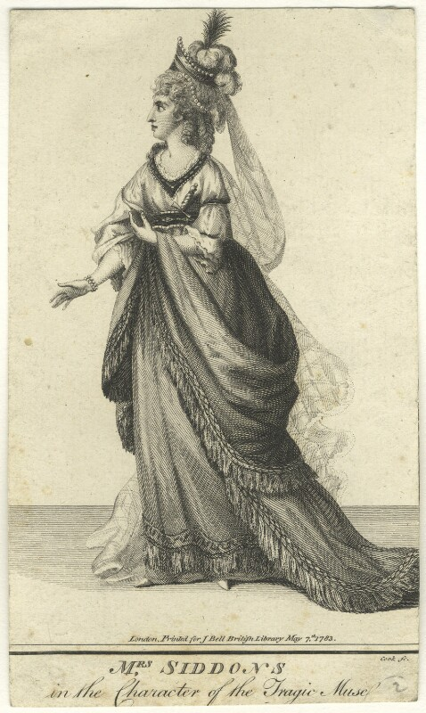 Sarah Siddons (née Kemble) in the Character of the Tragic Muse, by Thomas Cook, printed for  John Bell, published 7 May 1783 - NPG D8466 - © National Portrait Gallery, London