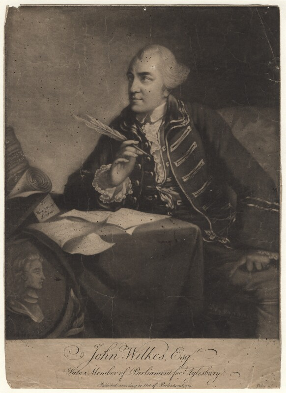 John Wilkes, by James Wilson, after  Robert Edge Pine, published 1764 - NPG D8508 - © National Portrait Gallery, London