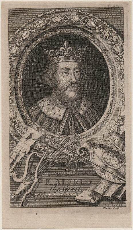 King Alfred ('The Great'), by George Vertue, mid 18th century - NPG D8576 - © National Portrait Gallery, London