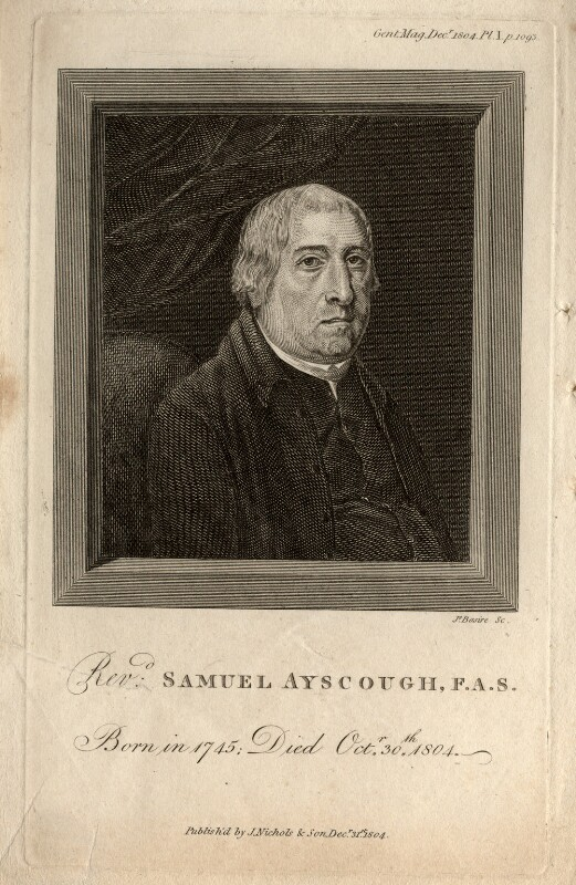Samuel Ayscough, by James Basire, published by  Nichols & Son, published 31 December 1804 - NPG D8642 - © National Portrait Gallery, London