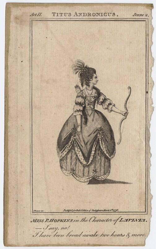 Priscilla Kemble (née Hopkins) when Miss Hopkins; as Lavinia in 'Titus Andronicus', after James Roberts, published 1776 - NPG D8664 - © National Portrait Gallery, London