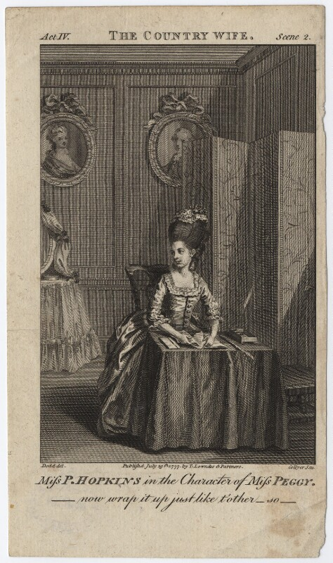 Priscilla Kemble (née Hopkins) when Miss Hopkins; as Miss Peggy in Garrick's 'The Country Girl', by Joseph Collyer the Younger, after  Daniel Dodd, published 1777 - NPG D8669 - © National Portrait Gallery, London