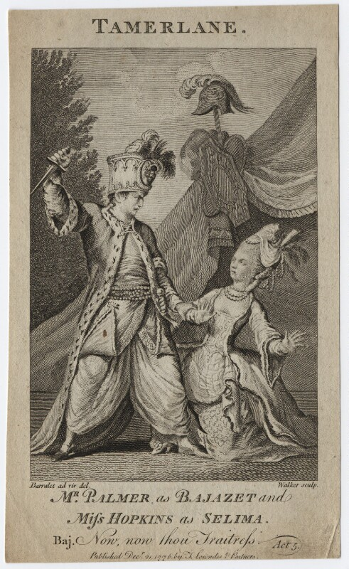 John Palmer; Priscilla Kemble (née Hopkins) (as Bajazet and Selima in Collier's 'Selima and Azor'), by Walker, after  John James Barralet, published 1776 - NPG D8670 - © National Portrait Gallery, London