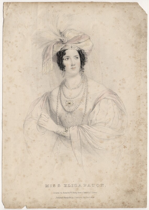 Eliza Paton, by William Sharp, published by  Joseph Dickinson, after  J. Stewart, published 1834 - NPG D8680 - © National Portrait Gallery, London
