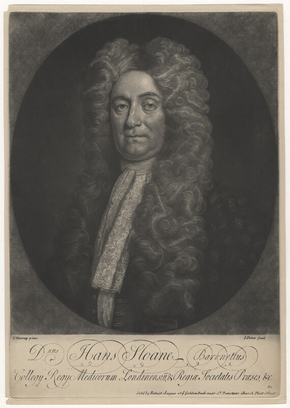 Sir Hans Sloane, Bt, by John Faber Jr, published by  Robert Sayer, after  Thomas Murray, 1728 or after - NPG D8749 - © National Portrait Gallery, London