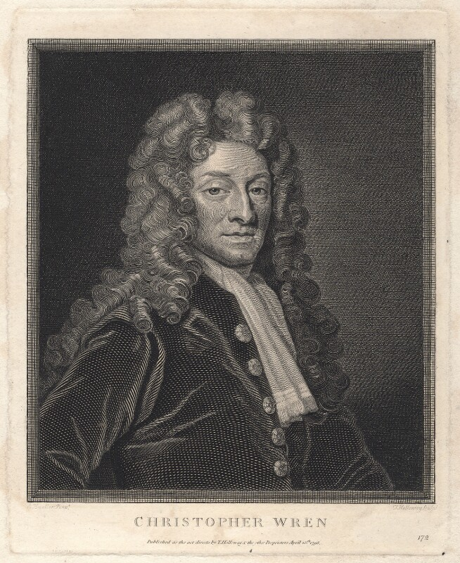 Sir Christopher Wren, by and published by Thomas Holloway, after  Sir Godfrey Kneller, Bt, published 1798 - NPG D8825 - © National Portrait Gallery, London