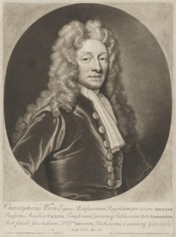 Sir Christopher Wren, by John Smith, after  Sir Godfrey Kneller, Bt, 1713 (1711) - NPG D8827 - © National Portrait Gallery, London
