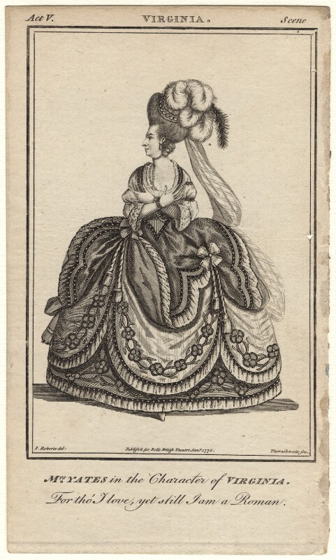 Mary Ann Yates as Virginia in Crisp's 'Virginia', by John Thornthwaite, published by  John Bell, after  James Roberts, published January 1778 - NPG D8930 - © National Portrait Gallery, London