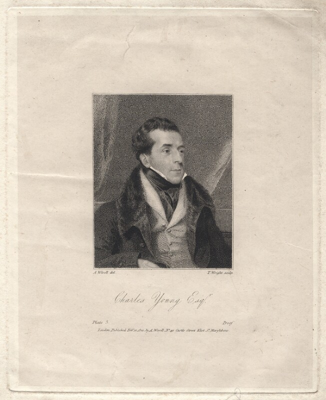 Charles Mayne Young, by Thomas Wright, after  Abraham Wivell, published 1822 - NPG D8947 - © National Portrait Gallery, London