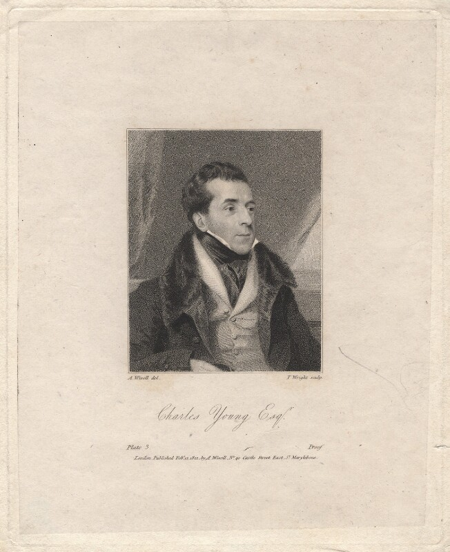Charles Mayne Young, by Thomas Wright, after  Abraham Wivell, published 1822 - NPG D8948 - © National Portrait Gallery, London