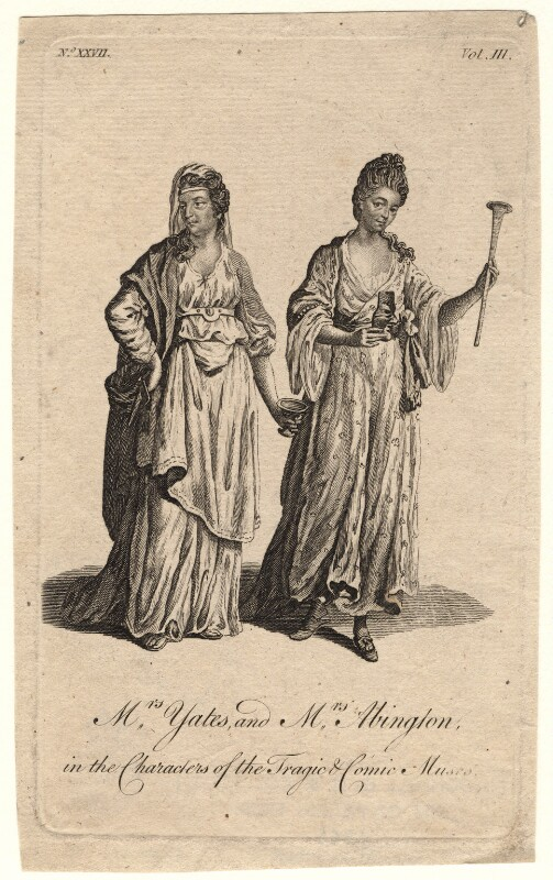 Mary Ann Yates; Frances Abington (née Barton) in the characters of the Tragic and Comic Muses, after Unknown artist, circa 1760s - NPG D8956 - © National Portrait Gallery, London