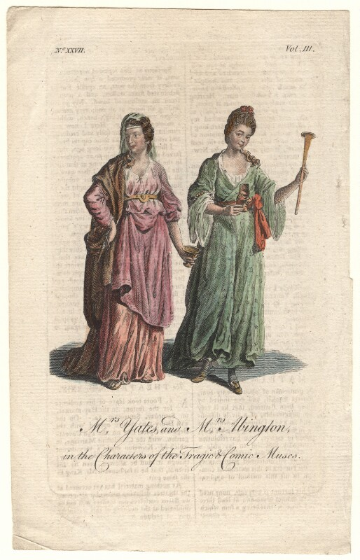 Mary Ann Yates; Frances Abington (née Barton) in the characters of the Tragic and Comic Muses, after Unknown artist, circa 1760s - NPG D8958 - © National Portrait Gallery, London