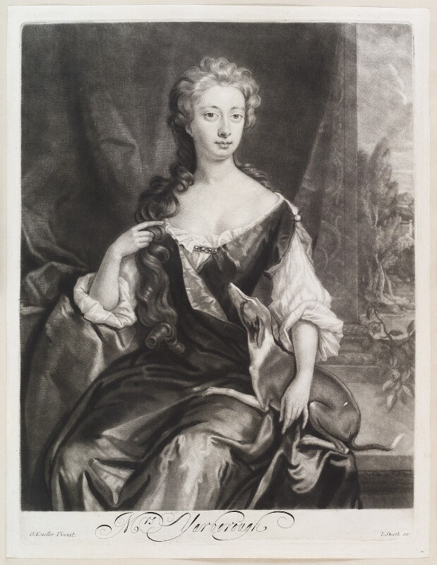 Henrietta Maria Wyvill (née Yarborough), Lady Wyvill, by Isaac Beckett, published by  John Smith, after  Sir Godfrey Kneller, Bt, published circa 1683-1729 - NPG D11611 - © National Portrait Gallery, London