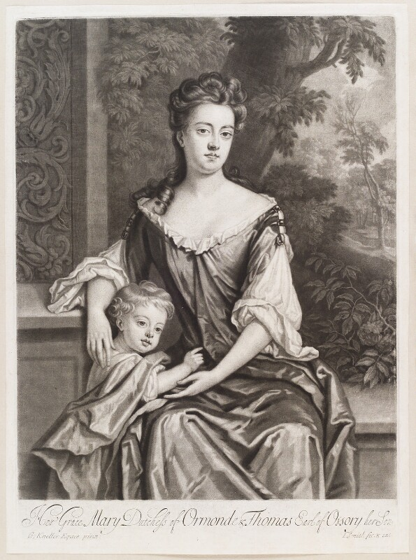 Mary Butler (née Somerset), Duchess of Ormonde and her son Thomas, Earl of Ossory, by and published by John Smith, after  Sir Godfrey Kneller, Bt, circa 1693 - NPG D11593 - © National Portrait Gallery, London
