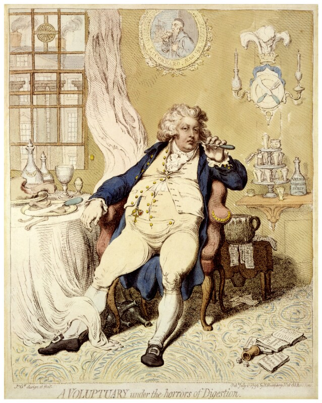 King George IV ('A voluptuary under the horrors of digestion'), by James Gillray, published by  Hannah Humphrey, published 2 July 1792 - NPG D12460 - © National Portrait Gallery, London