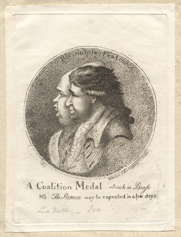 'A coalition medal struck in brass' (Frederick North, 2nd Earl of Guilford; Charles James Fox), by James Sayers, published by  Edward Hedges, published 3 March 1783 - NPG D9540 - © National Portrait Gallery, London