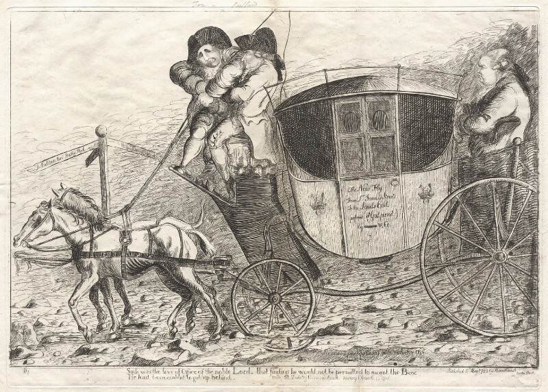 'The Coalition Stagecoach', by James Sayers, published by  Thomas Cornell, published 5 May 1783 - NPG D9567 - © National Portrait Gallery, London