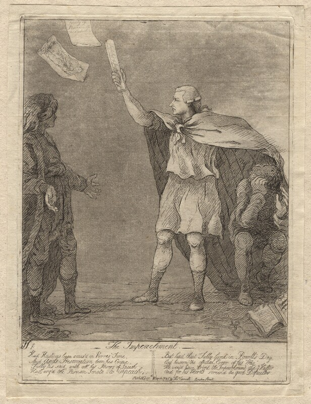 'The impeachment' (Warren Hastings; Edmund Burke), by James Sayers, published by  Thomas Cornell, published 17 March 1786 - NPG D9569 - © National Portrait Gallery, London