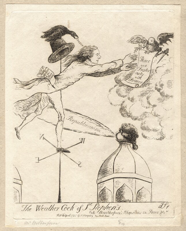 'The weathercock of St Stephen's' (Charles James Fox; William Wilberforce), by James Sayers, published by  Hannah Humphrey, published 14 April 1795 - NPG D9575 - © National Portrait Gallery, London
