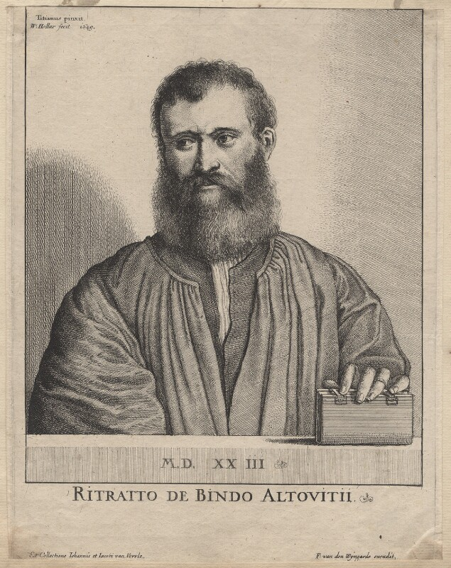 Bindo AltovitI, by Wenceslaus Hollar, after  Titian, 1649 - NPG D9589 - © National Portrait Gallery, London