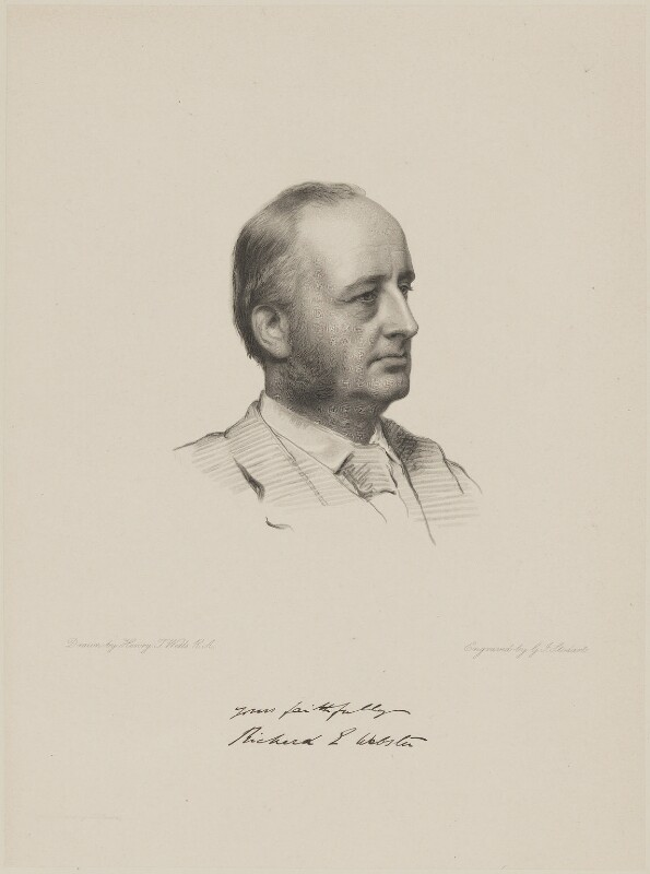 Richard Everard Webster, Viscount Alverstone, by George J. Stodart, after  Henry Tanworth Wells, 1884 or before - NPG D9590 - © National Portrait Gallery, London