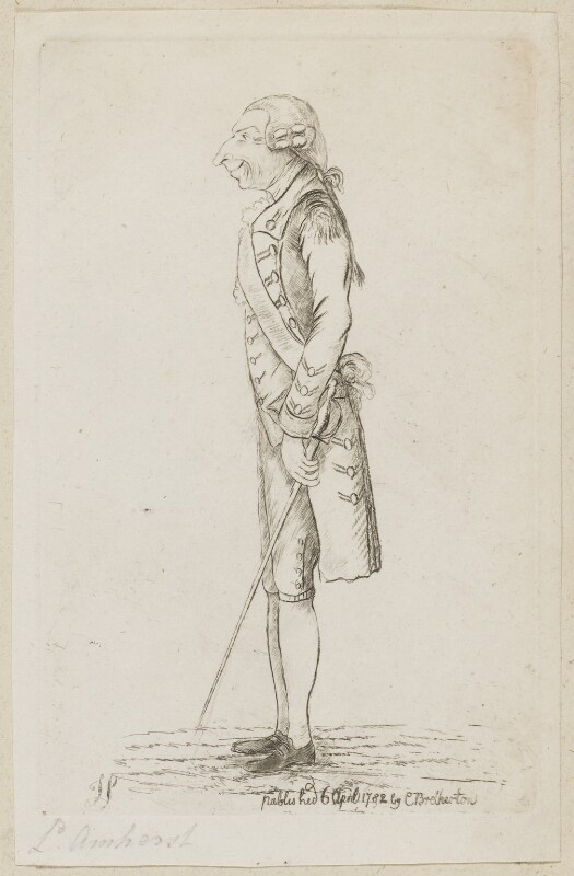 Jeffrey Amherst, 1st Baron Amherst, by James Sayers, published by  Charles Bretherton, published 6 April 1782 - NPG D9592 - © National Portrait Gallery, London