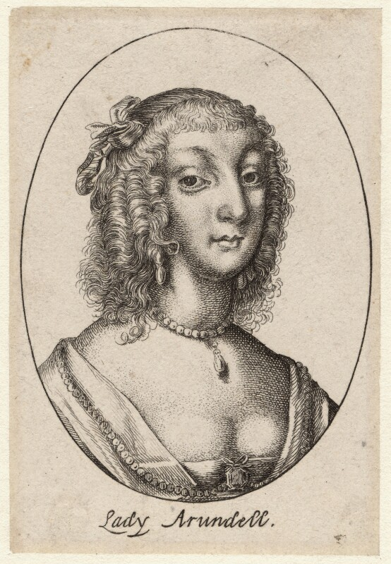 Possibly Aletheia Talbot, Countess of Arundel, by Wenceslaus Hollar, mid 17th century - NPG D9599 - © National Portrait Gallery, London
