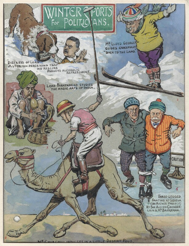 Winter Sports for Politicians, by Sir (John) Bernard Partridge, 1927 - NPG D9605 - Reproduced with permission of Punch Ltd