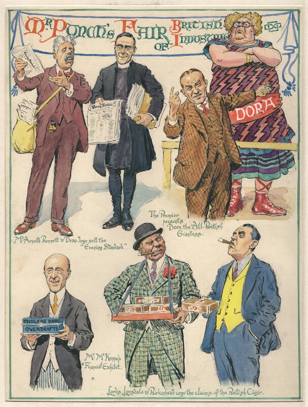 'Mr. Punch's Fair of British Industries', by Sir (John) Bernard Partridge, 1928 - NPG D9626 - Reproduced with permission of Punch Ltd