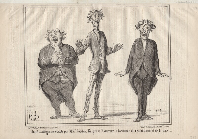 John Bright; Richard Cobden; Mr Patterson, by Honoré Daumier, published 11 February 1856 - NPG D9653 - © National Portrait Gallery, London