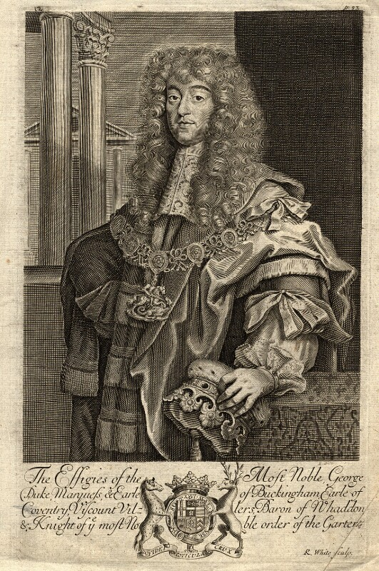 George Villiers, 2nd Duke of Buckingham, by Robert White, after  Unknown artist, published 1679 - NPG D9656 - © National Portrait Gallery, London