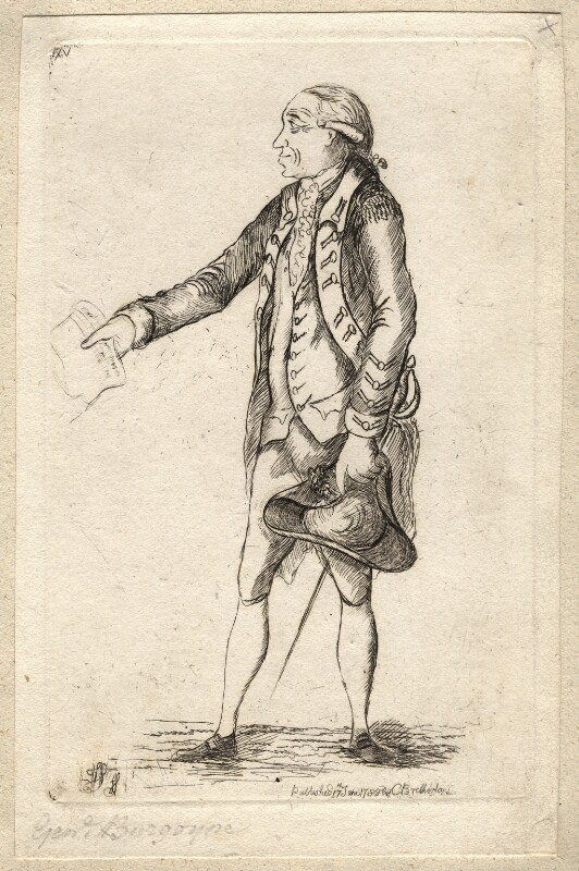 John Burgoyne, by James Sayers, published by  Charles Bretherton, published 17 June 1782 - NPG D9661 - © National Portrait Gallery, London
