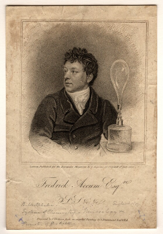 Frederick Christian Accum, by James Thomson (Thompson), published by  James Asperne, after  Samuel Drummond, published 1 July 1820 - NPG D970 - © National Portrait Gallery, London
