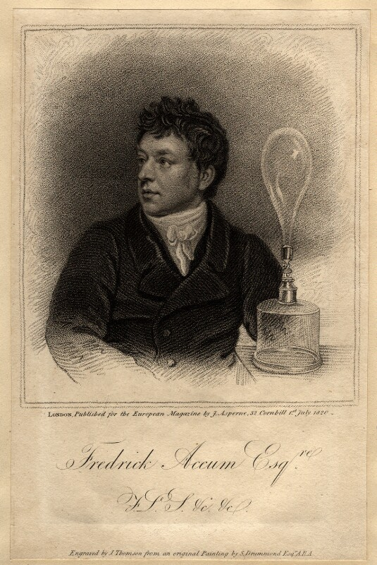 Frederick Christian Accum, by James Thomson (Thompson), published by  James Asperne, after  Samuel Drummond, published 1 July 1820 - NPG D971 - © National Portrait Gallery, London