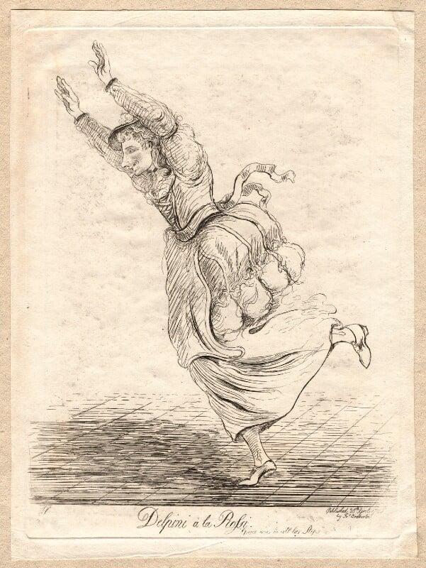 Carlo Antonio Delpini ('Delpini à la Rossi'), by James Sayers, published by  James Bretherton, published 20 April 1785 - NPG D9714 - © National Portrait Gallery, London