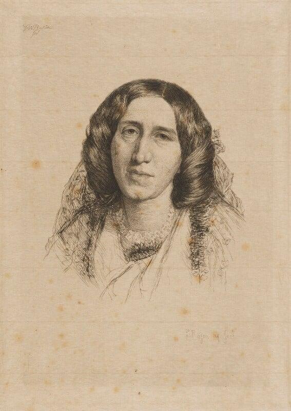 George Eliot (Mary Ann Cross (née Evans)), by Paul Adolphe Rajon, after  Sir Frederic William Burton, (1865) - NPG D9729 - © National Portrait Gallery, London