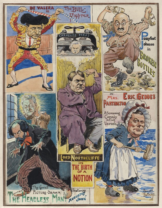 'As popularity is to be achieved nowadays only through the cinema Mr. Punch 'presents' a few screen opportunities for prominent aspirants', by Sir (John) Bernard Partridge, 1922 or before - NPG D9759 - Reproduced with permission of Punch Ltd