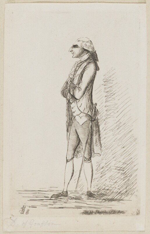 Augustus Henry FitzRoy, 3rd Duke of Grafton, by James Sayers, published by  Charles Bretherton, published 14 May 1782 - NPG D9769 - © National Portrait Gallery, London