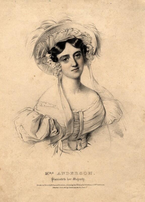 Lucy Anderson (née Philpot), by Richard James Lane, after  Johannes Notz, published 1835 - NPG D977 - © National Portrait Gallery, London