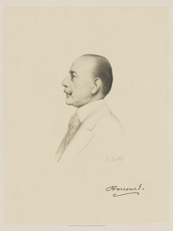 Lewis Harcourt, 1st Viscount Harcourt, by Henry Dixon & Son, after  Sir Francis Bernard ('Frank') Dicksee, (1917) - NPG D9787 - © National Portrait Gallery, London