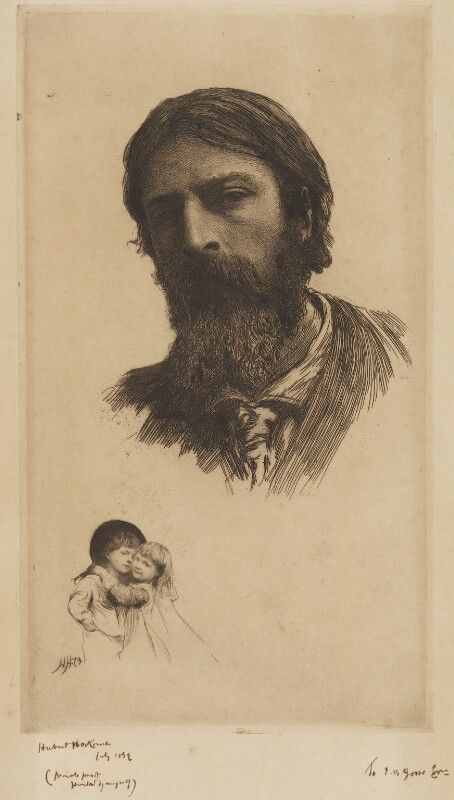 Hubert Herkomer A.R.A. and his Children, by Sir Hubert von Herkomer, 1879 - NPG D9797 - © National Portrait Gallery, London