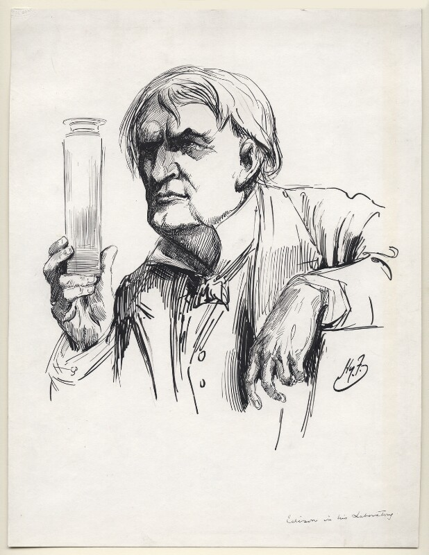 Thomas Alva Edison, by Harry Furniss, 1912-1914 - NPG D98 - © National Portrait Gallery, London