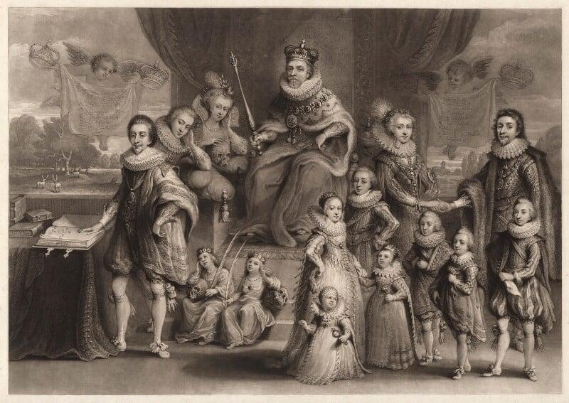 'James I and his royal progeny', by Charles Turner, published by  Samuel Woodburn, after  Willem de Passe, published 1814 - NPG D9808 - © National Portrait Gallery, London