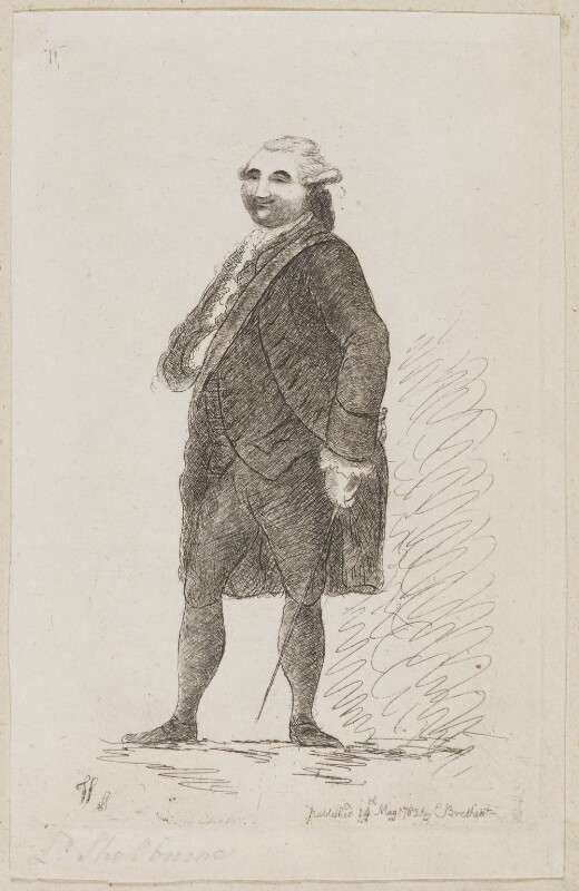 William Petty, 1st Marquess of Lansdowne (Lord Shelburne), by James Sayers, published by  Charles Bretherton, published 14 May 1782 - NPG D9822 - © National Portrait Gallery, London