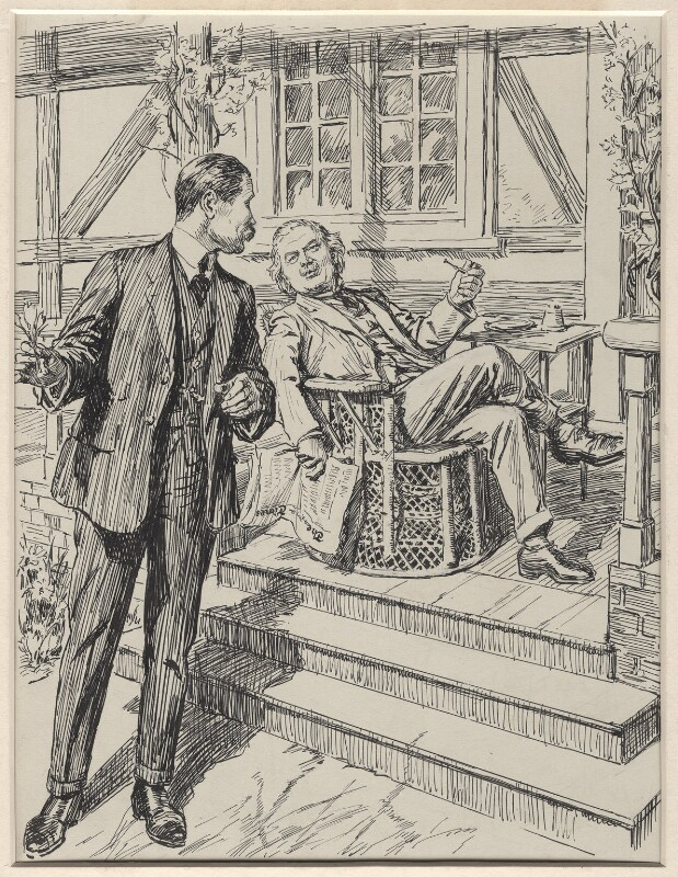 In the Spring a Press-Man's Fancy- (Bonar Law; David Lloyd George), by Sir (John) Bernard Partridge, 1921 - NPG D9828 - Reproduced with permission of Punch Ltd