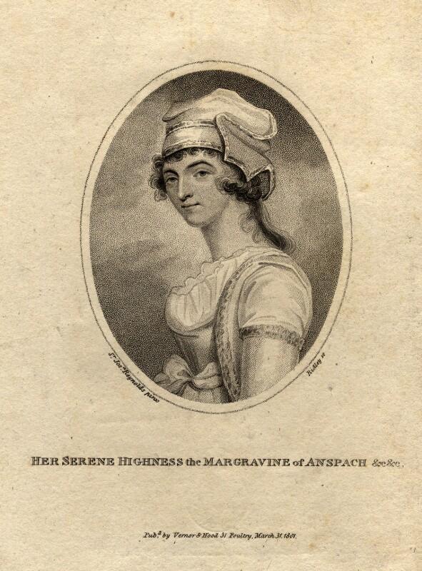 Elizabeth Craven (née Berkeley), Margravine of Brandenburg-Ansbach, by William Ridley, published by  Vernor & Hood, after  Sir Joshua Reynolds, published 31 March 1801 (circa 1774-1775) - NPG D987 - © National Portrait Gallery, London