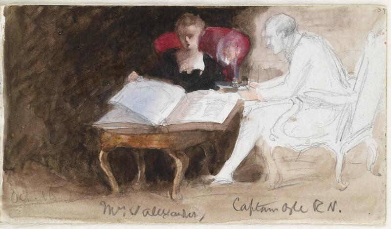 Mrs Walter Alexander; Captain Ogle, by Louisa Anne Beresford (née Stuart), Marchioness of Waterford, 1888 - NPG D23146(59) - © National Portrait Gallery, London