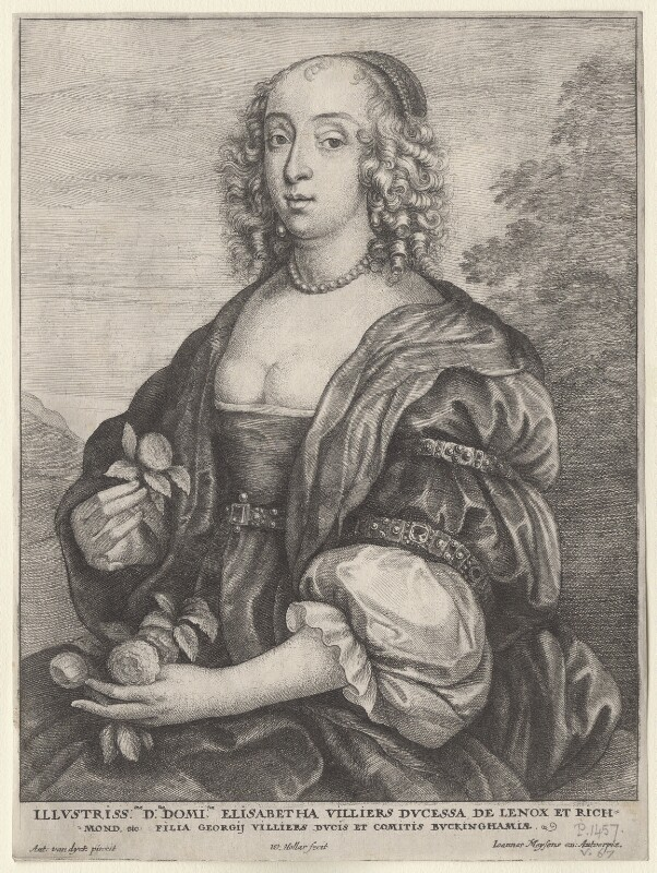 Mary Villiers, Duchess of Richmond and Lennox, by Wenceslaus Hollar, after  Sir Anthony van Dyck, mid 17th century - NPG D9918 - © National Portrait Gallery, London