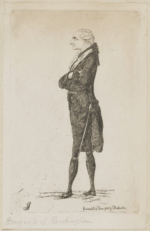 Charles Watson-Wentworth, 2nd Marquess of Rockingham, by James Sayers, published by  Charles Bretherton, published 17 June 1782 - NPG D9925 - © National Portrait Gallery, London