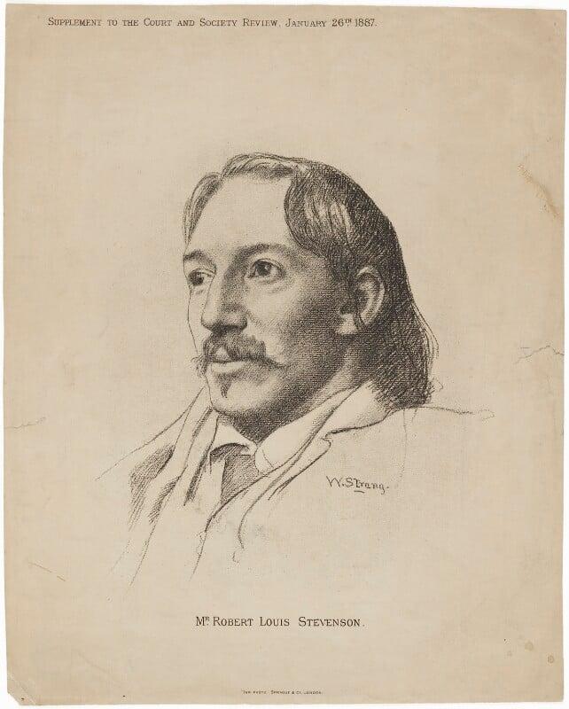 Robert Louis Stevenson, by Sprague & Co, after  William Strang, published 26 January 1887 - NPG D9957 - © National Portrait Gallery, London